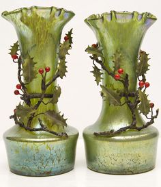 Pair Loetz Lotz Iridescent Oil Spot Glass Vases with Metal Holly Branches picclick.com