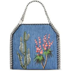 Falabella Denim Embroidered Mini Bag ($865) ❤ liked on Polyvore featuring bags, handbags, embroidered bag, embroidery bags, denim handbags, stella mccartney handbags and mini bags