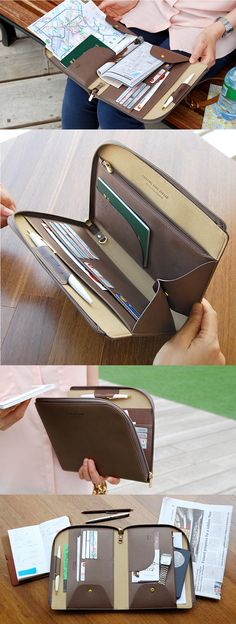 The All-in-One Leather Book Clutch is one of many adorable and functional products in the MochiThings collection. Leather Accessories, Travel Accessories, My Bags, Purses And Bags, Leather Craft, Leather Bag, Book Clutch, Small Leather Goods, Travel Bags