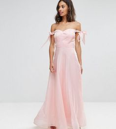 7f8eff13ad8ae Chi Chi London Petite Chi Chi Petite Floaty Maxi Dress With Bow Shoulder  Detail- cheap bridesmaid dress afflink