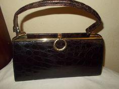 Stunning vintage crocodile skin 1950's handbag in beautiful near perfect condition by VintageHandbagDreams on Etsy