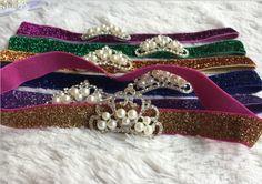12pcs/lot Tiara Headband Royal Baby Pearl Crown Baby Headband Rhinestone children accessories