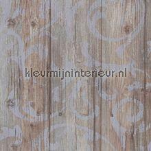Robuust hout met stempelprint behang
