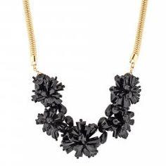 Jet facet bead flower necklace