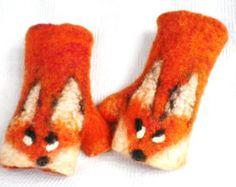 Fox  fingerless mittens felted  arm warmers gloves Norwegian merinowool