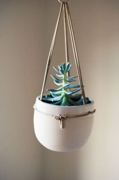 a place that your little succulent can call home.  ++ Hanging Ceramic Planter