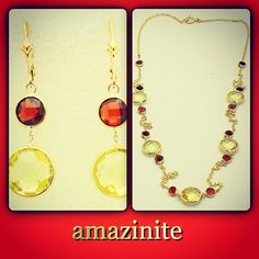 ready set go. matching earrings and necklace. genuine gemstones handset in rich yellow #14k #gold. affordable #luxury. #amazinite   new fashion revolution   http://stores.ebay.com/amazinite
