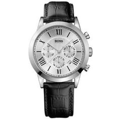 #Mens Hugo Boss Watch made from stainless steel and black leather.   Features include a round silver dial chronograph, date function and black Roman numeral hour markers.   This wrist watch is powered by a quality quartz movement and fastens with a black leather strap.
