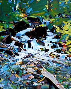 """""""Spring Creek"""" x Acrylic on Board by Min Ma, from Crescent Hill Gallery in Mississauga, ON Acrylic Painting Techniques, Art Techniques, Landscape Artwork, Abstract Landscape, Canadian Painters, Virtual Art, Spring Painting, Impressionist Art, Art Academy"""