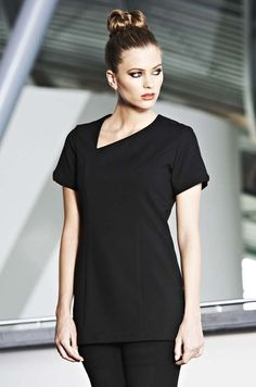 Black scooped angle neckline beauty tunic / beauty therapist uniform.  This salon uniform is smart and practical, semi-fitted with cap sleeves and shaped neckline.  Simon Jersey is a supplier of beauty tunics for beauty salons, spas, hairdressing salons, cosmetic surgeries and more #beauty #beautytunic #uniform #salon #spa