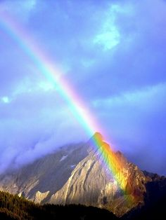 Rainbow over the mountains.