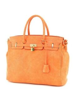 London Office Tote Croc Finish - Orange Nvie Designs