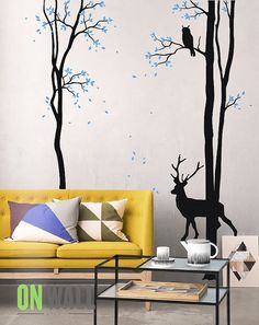 Vinyl Wall Tree Decal with Deer and Owl- Deer Wall sticker  - Tree mural  MM022 on Etsy, $88.00