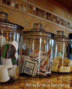 """Coffee Station"" Ideas ~ can put inside a cabinet (near your coffee maker) to avoid counter clutter."