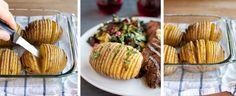 Cum sa faci cartofi acordeon - www. Meat Steak, Baked Potato, Lamb, Side Dishes, Easy Meals, Pork, Cooking Recipes, Potatoes, Yummy Food