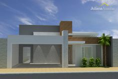 Residência P&A Front View Of House, House Front Design, Layouts Casa, House Layouts, Design Exterior, Modern Exterior, Modern Architecture House, Architecture Design, Boundary Walls