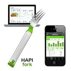 New Fitness Gadgets 2013 Hapilabs' Hapifork ($99), a high-tech utensil that reminds anxious eaters to slow down, is determined to guide dieters to long-term weight-loss success. Hapifork encourages dieters to slow down between fork servings. Blinking lights and gentle vibrations indicate that the amount of fork servings per minute is too high.