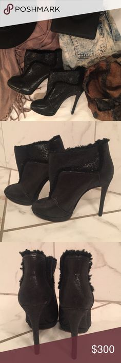 Brian Atwood booties -- drop dead gorgeous These shoes are AMAZING -- subtle, soft black shimmer fabric with fleece lining. You won't fined anything like these beauties. So good looking. Worn once. Brian Atwood Shoes Ankle Boots & Booties