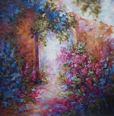 country cottage wall art flower garden  impressionism painting