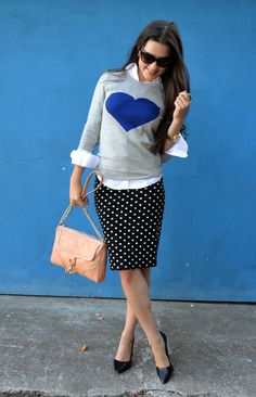 Sweater + button down + polka-dot pencil skirt.. FUN