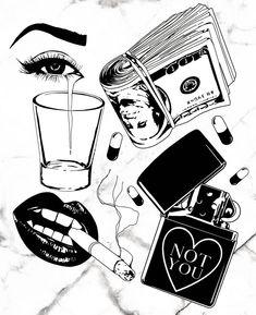 Tattoo Flash Sheet, Tattoo Flash Art, Cool Art Drawings, Tattoo Drawings, Black Tattoos, Cool Tattoos, Gangster Tattoos, Hard Nails, Tattoo Themes