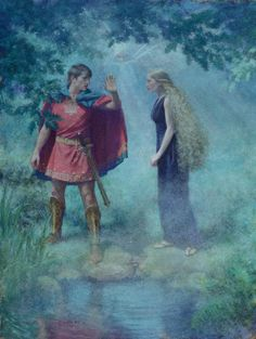 Demetrius asks Helena not to follow him in the woods of Athens. Pastel on Paper by Christian Birmingham.