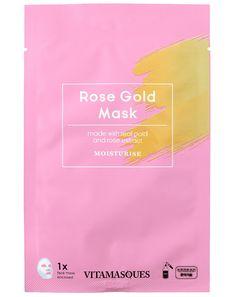 Μια πολυτελής ενυδατική κορεάτικη μάσκα προσώπου κατασκευασμένη με σκόνη χρυσού και εκχύλισμα τριαντάφυλλου για την ενυδάτωση της επιδερμίδας. Sheet Mask, Mask Making, Masks, Rose Gold, Tote Bag, Face, Totes, The Face, Faces