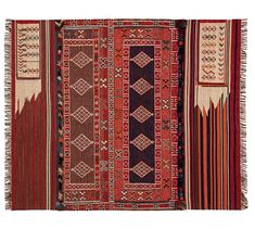 Isaac Synthetic Kilim Rug - Red Multi