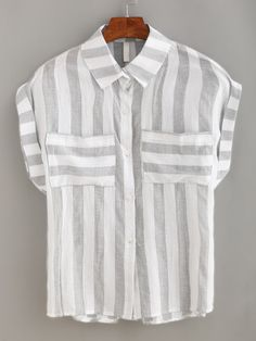 Mixed Striped Dual Pocket Blouse