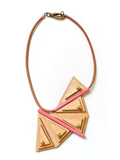 Geometric necklace  Joanna Koulouris - Meet The Cat from birch wood laser cutting, pink and golden brass details strapped with leather. Total length: 71m (about) + extra link, Width: 9,5m