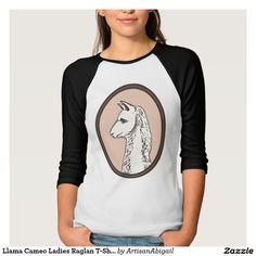Sold! Thank you to the customer and enjoy! Llama Cameo Ladies Raglan T-Shirt; ArtisanAbigail at Zazzle