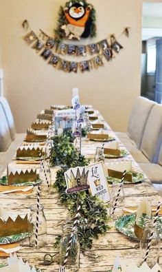Where The Wild Things Are Celebration - Birthday Party Ideas & Themes Boys First Birthday Party Ideas, Wild One Birthday Party, Birthday Party Tables, 1st Boy Birthday, Boy Birthday Parties, Birthday Celebration, Birthday Menu, Gold Birthday, Birthday Table Decorations