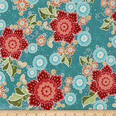 LAMINATED---Riley Blake Flutter Laminated Cotton Large Floral Blue                                      Item Number: 203460                                                On Sale: $10.38 per YD.