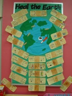 Earth Day activity - students write how they\'ll do their part on band-aids, would be a great character ed lesson.