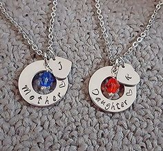 Personalized Mother Daughter Necklace Set, Swarovski Crystal Birthstone with Stamped Initials, Washer Heart Stamped Mother Daughter Necklace, Mother's Day Gift, Gift for Mom, Mother Gift Necklace Set.