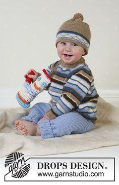 Swab the deck / DROPS baby – gratis breipatronen door DROPS design Baby Knitting Patterns, Baby Sweater Knitting Pattern, Jumper Patterns, Baby Patterns, Drops Design, Easy Knitting, Knitting For Kids, Deck Patterns, Drops Baby