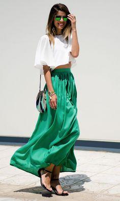 Gonne lunghe: idee per i vostri look estivi! Look Fashion, Womens Fashion, Skirt Fashion, Fashion Casual, Fashion Styles, Street Fashion, Trendy Fashion, Runway Fashion, High Fashion
