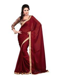 Buy maroon plain satin saree with blouse traditional-saree online Satin Saree, Chiffon Saree, Work Sarees, Lace Border, Bollywood Saree, Traditional Sarees, Party Wear Sarees, Saree Wedding, Sarees Online