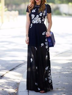 Charming Round Collar Short Sleeve Floral Printed Women's Maxi Dress
