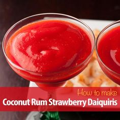 Delicious fresh Strawberry Daiquiris made with Coconut Rum. Try them at your next cocktail hour.