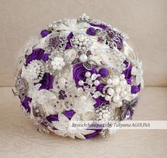 Brooch bouquet. Ivory and Purple Brooch by MagnoliaHandmade $250 for a 7 inch