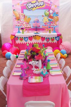 Party Setup from a Shopkins Birthday Party via Kara's Party Ideas | KarasPartyIdeas.com (9) Shopkins Party Ideas, Festa Shopkins, Shopkins Birthday Cake, Shopkins Cake, Shopkins Nails, 7th Birthday Party For Girls, Spa Birthday Parties, Bday Girl, Cheap Birthday Ideas
