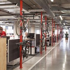 SRAM headquarters, a bike company. With an indoor cycling track #bikes #SRAM #chicago #perkinswill