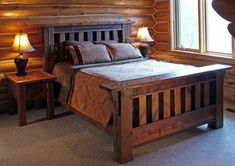 reclaimed wood bed design in rustic style with headboard log cabin walls reclaimed wood side tables with table lamps of Feel Your Ultimate Sleeping with These Tens of Cozy & Simple Wood Bed Design