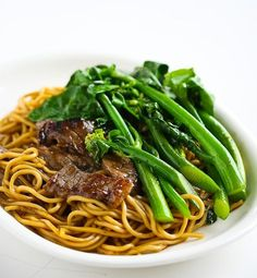Beef and Chinese broccoli noodles.    If you can't find Gailan, you can use any type of leafy greens. I used Broccoli Rabe and it turned out excellent!