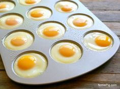 Perfect Brunch Eggs from NoblePig.com. A great way to feed a crowd and the eggs come out perfect every time.