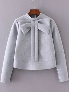 Cheap cute pullover, Buy Quality crew neck sweatshirts directly from China pullover cute Suppliers: SweatyRocks Grey Bow Embellished Crew Neck Sweatshirt Autumn Winter Cute Pullovers For Women Long Sleeve Zipper Back Sweatshirt Fashion Kids, Look Fashion, Winter Fashion, Womens Fashion, Fashion Black, Sweatshirt Outfit, Crew Neck Sweatshirt, Grey Sweatshirt, Grey Sweater