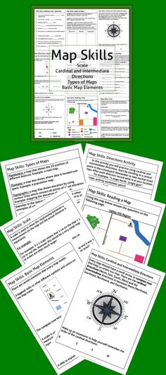 This package contains a variety of handouts, worksheets, a lesson idea, and an activity to help teach students map skills such as scale, cardinal and intermediate directions, types of maps (planimetric, thematic, topographic), and basic map elements (legend, title etc.)