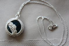 Small Deep Blue Crochet Stone Pendant by FuchsiaFoxStudio on Etsy