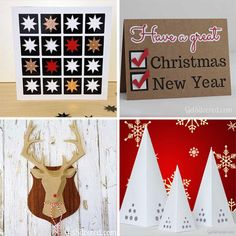 Four Free Xmas SVG Cutting Files - 2 Christmas Cards and 2 Decorations. Silhouette Cameo, Silhouette Portrait, Christmas Svg, Christmas And New Year, Xmas, Paper Cutting, Cutting Files, Cricut, Diy Crafts